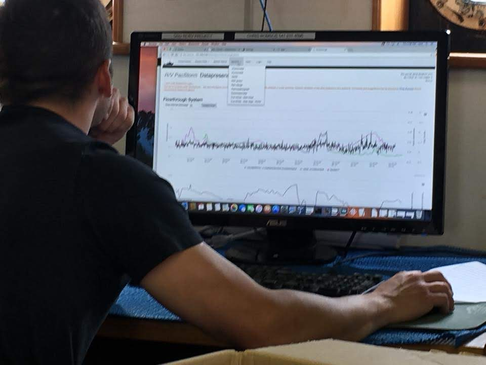 Man looks at data on a computer screen