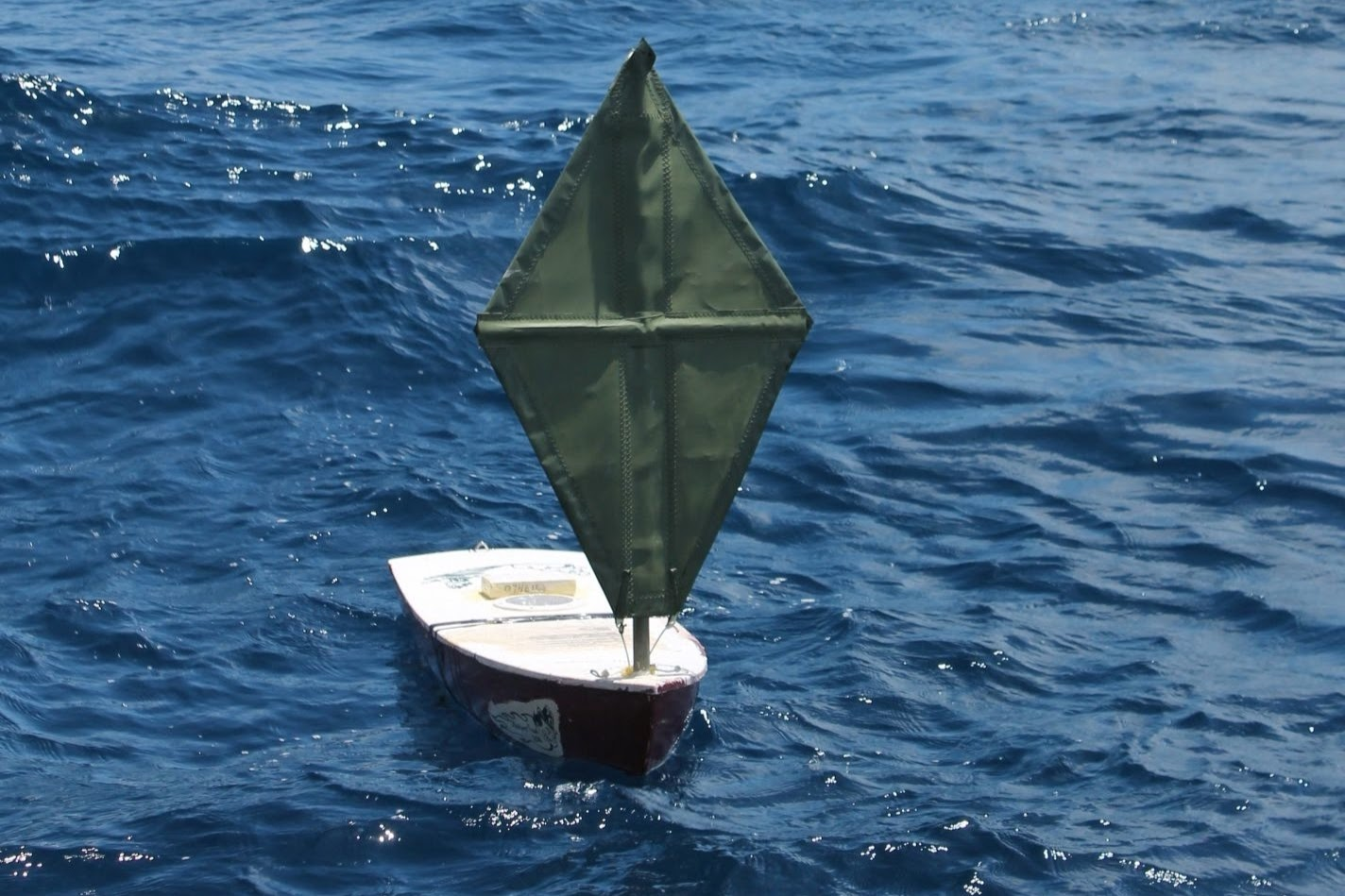 student built unmanned sailboat at sea