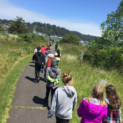 students on a trail
